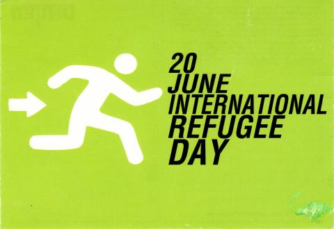 "Illustration of a man running towards the emergency exit. On the side it is written ""20 June International Refugee Day"""