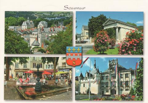 Four photos from Saumur in France. The roofs, The protestant temple, a fountain and the city hall.
